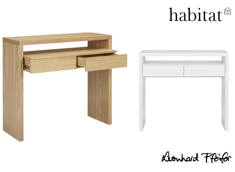 The CONSOLE WRITING DESK, available in  NATURAL and WHITE, from Habitat France
