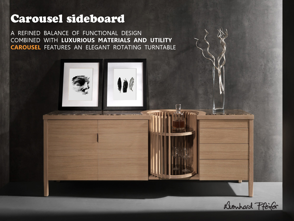 Carousel sideboard - A refined balance of functional design combined with luxurious materials and utility, Carousel features an elegant rotating turntable.