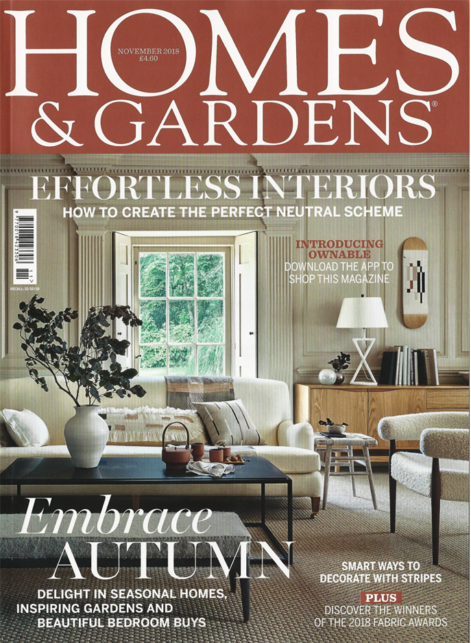 Haven sideboard,  available in the UK from Lombok , on the cover of the UK Homes & Gardens, November 2018.