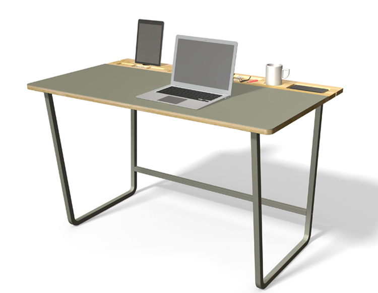 Jalaka desk - rendering of the solid oak desk with natural linoleum work surface and dark grey metal legs.