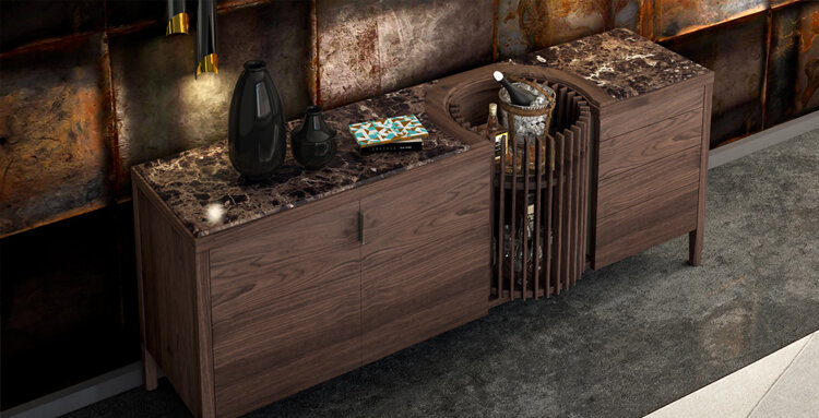 Carousel Sideboard in Walnut with Estremoz Marble, designed by Leonhard Pfeifer and produced exclusively by Wewood.