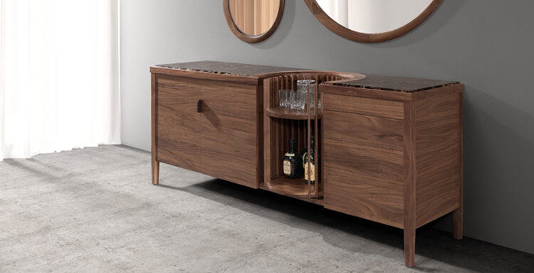 Carousel Sideboard in Walnut with Estremoz Marble, designed by Leonhard Pfeifer and produced exclusively by Wewood is now available in-store in London Heal's Tottenham Road Court 2nd floor showroom.