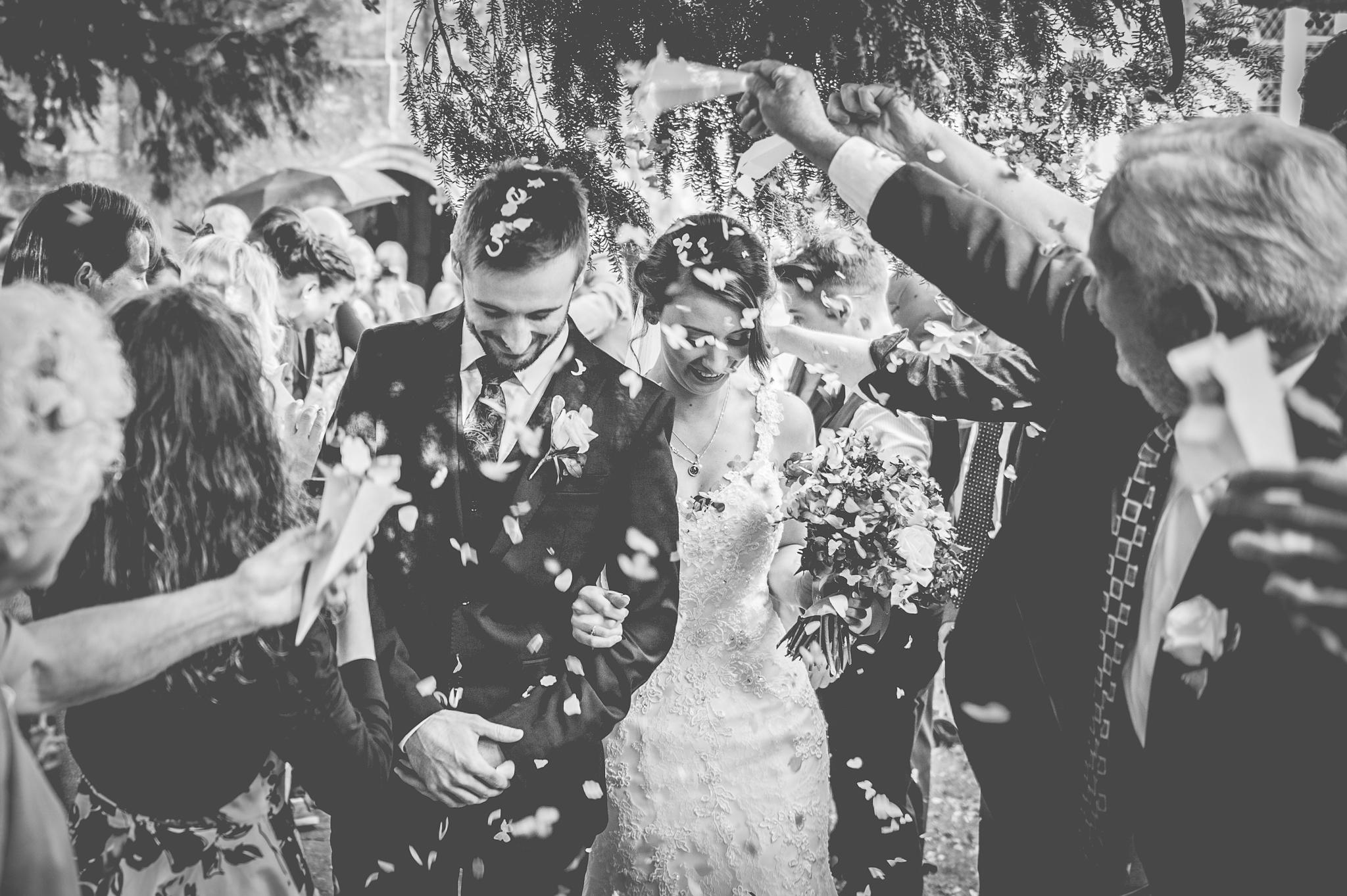 bride and groom confetti line