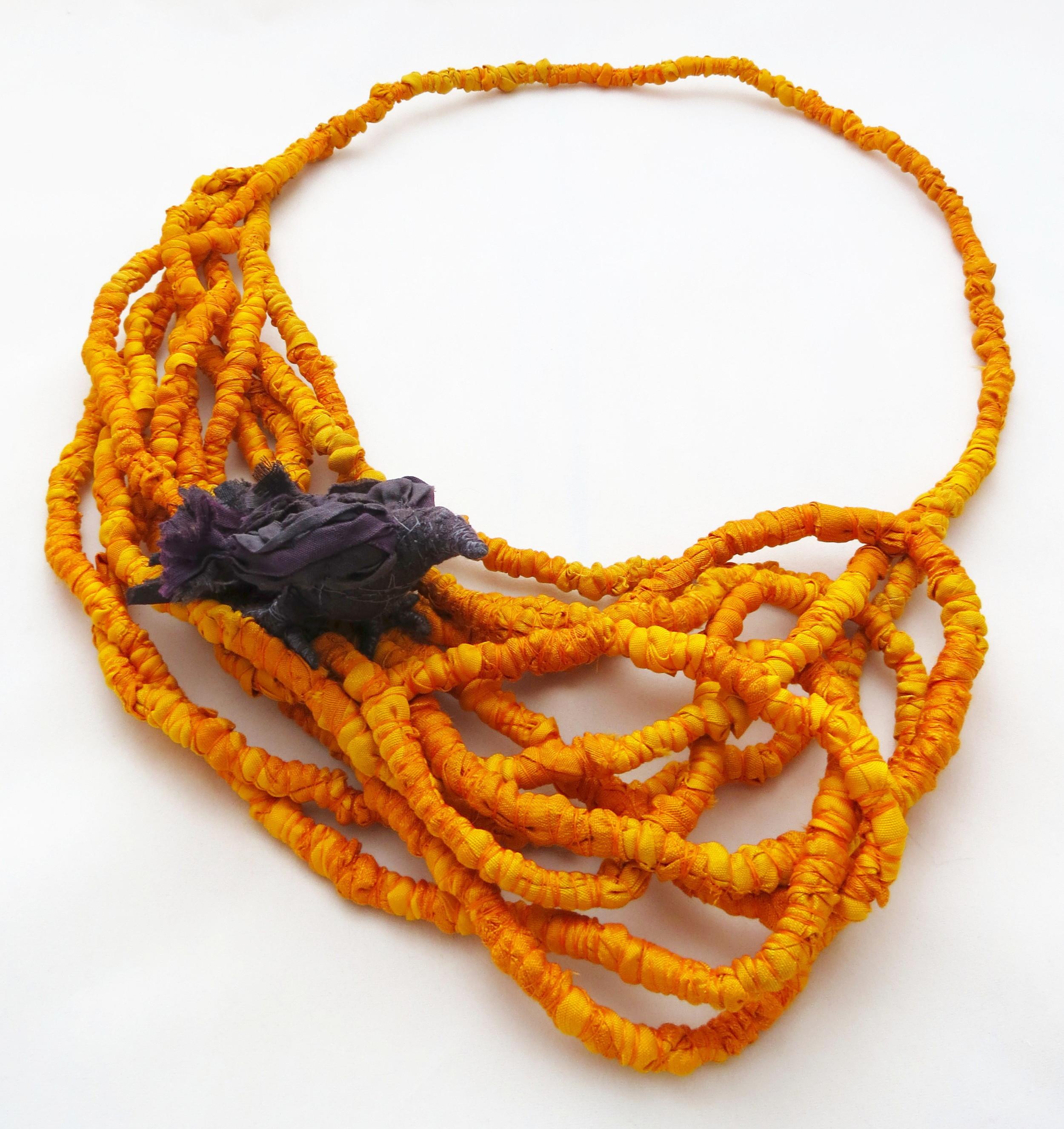 Harvest – Francesca Cecchini (2014), necklace // Materials: repurposed sari silk, thread, copper wire.
