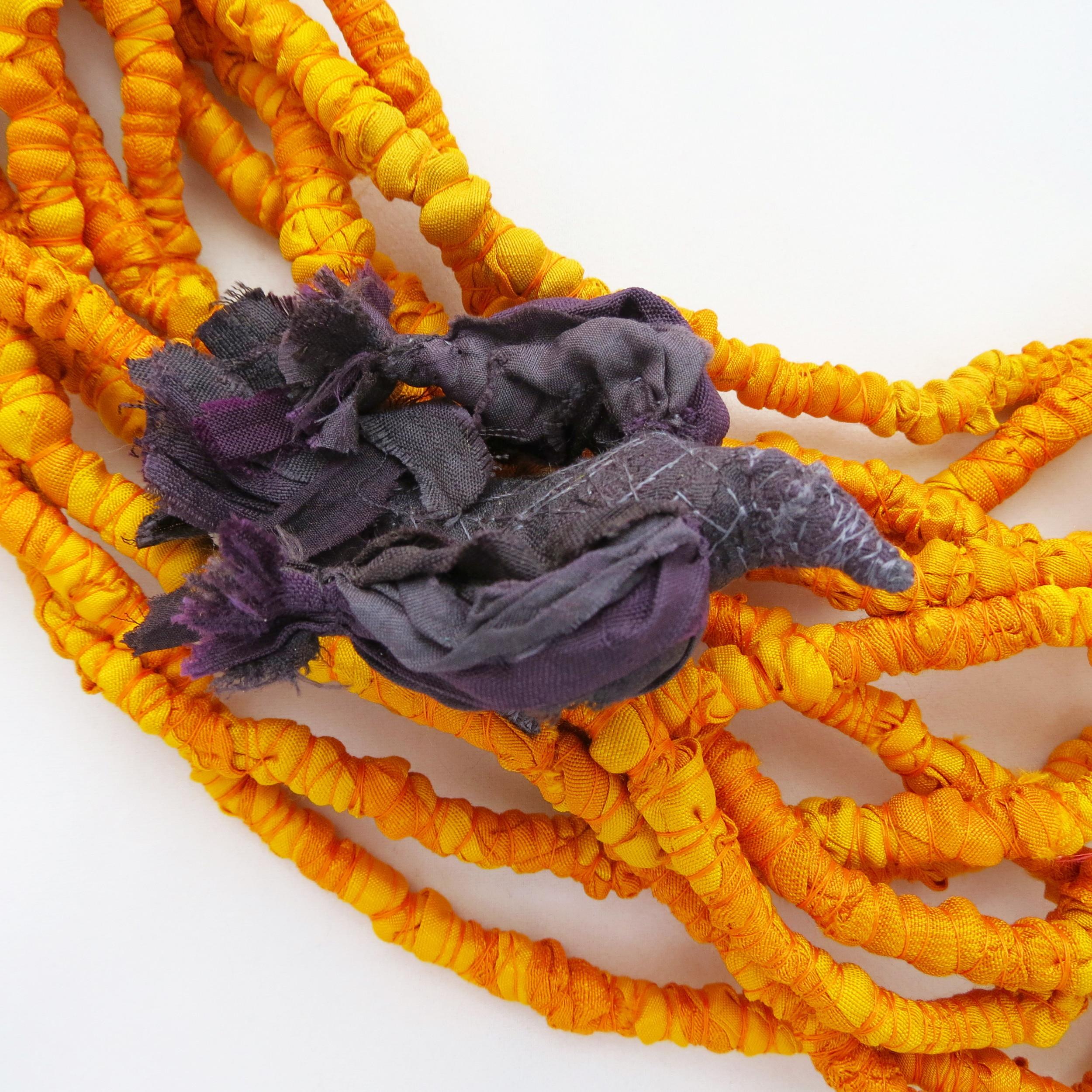 Harvest – Francesca Cecchini (2014), necklace (detail) // Materials: repurposed sari silk, thread, copper wire.