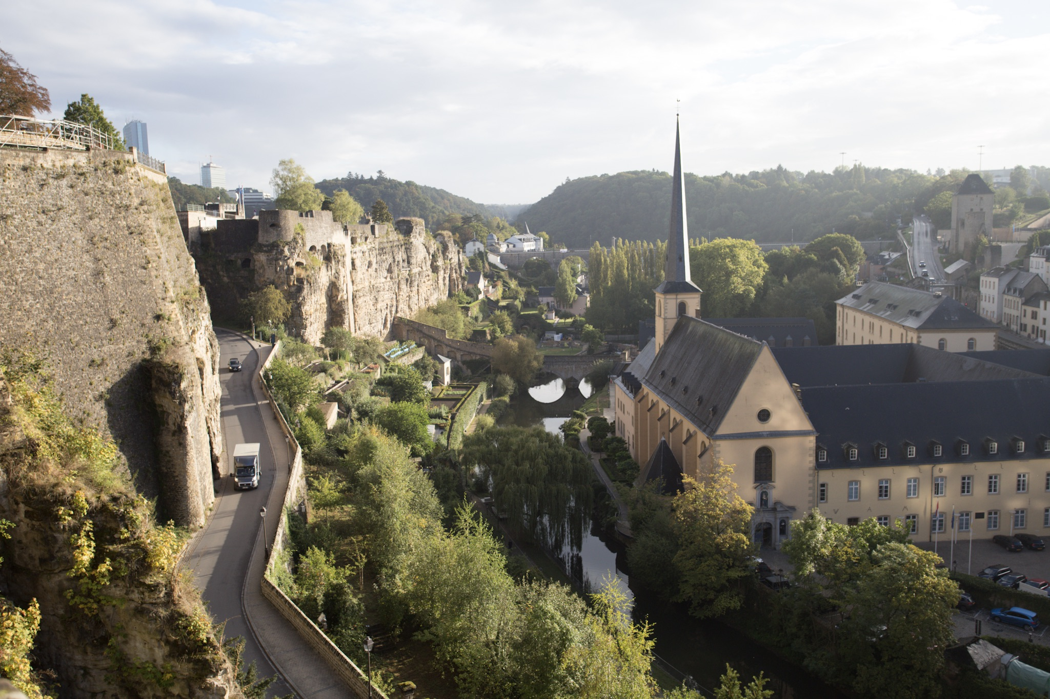 The Grund, an abbey and river in front of the casemates in the cliffs.