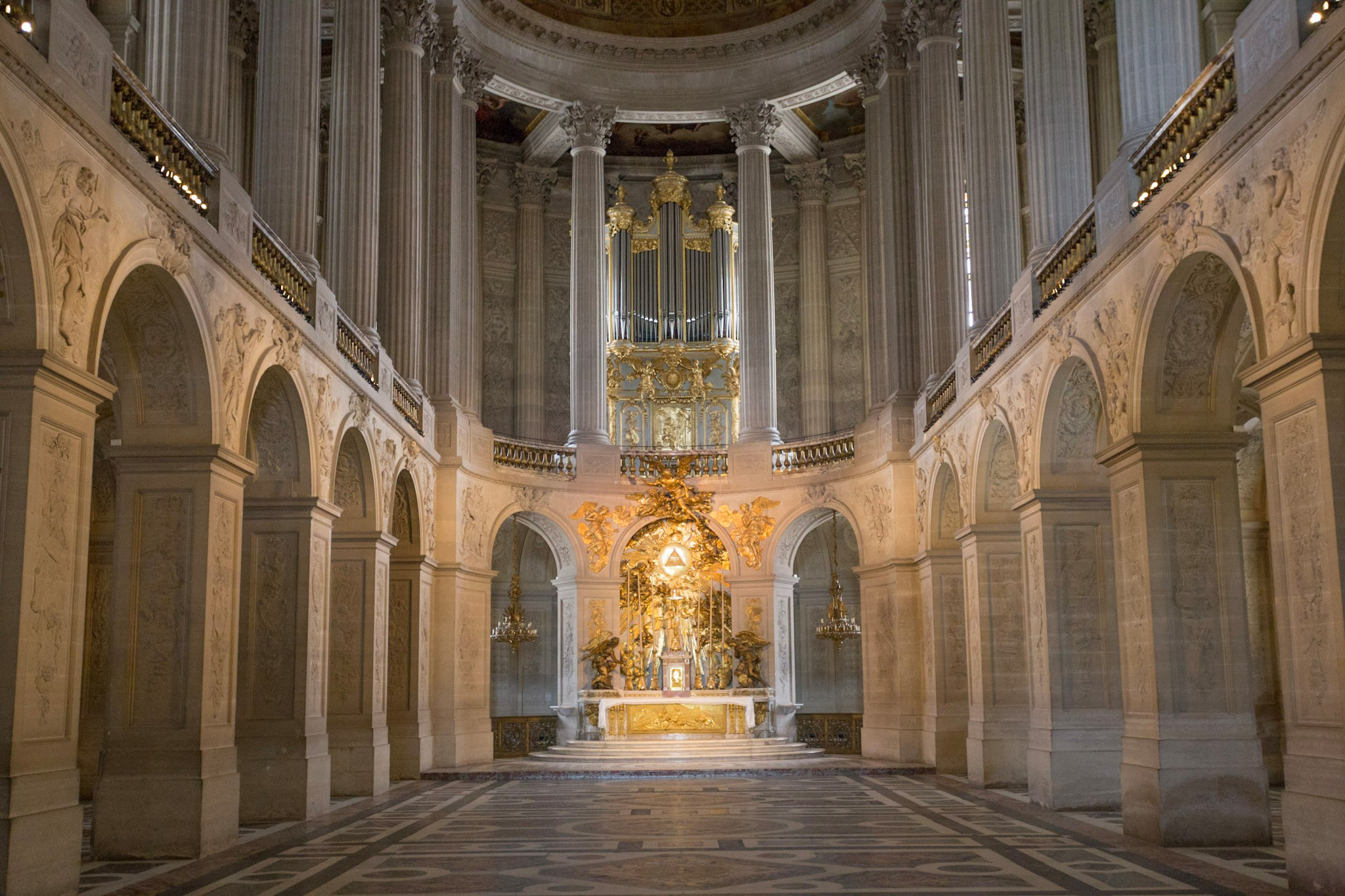 One of the few times you will get to see a church empty of tourists. The private chapel of Versailles.