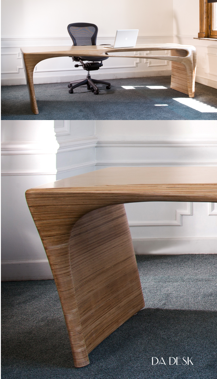 Desks are not usually something we talk about but can't resist showing this amazing new piece from  Peter Donders . Made of 7,5 sheets of 12mm birch plywood, the organic, curved shape is hand sanded. Available in 2 sizes, 2400mm or 1800mm.  Contact us  to find out more