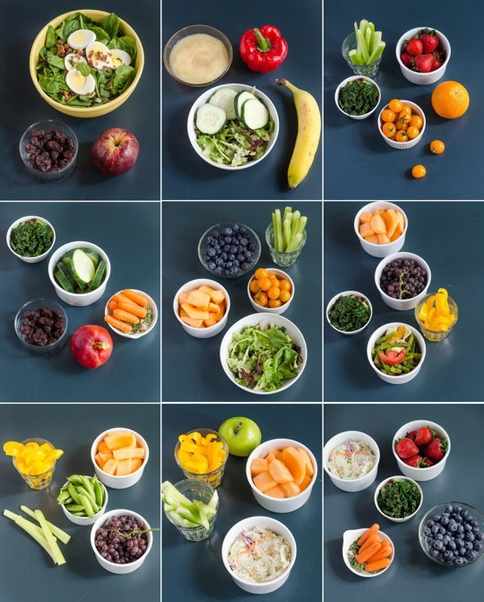 Each box represents the fruits and veggies you should be eating. (picture credit: runtothefinish.com)