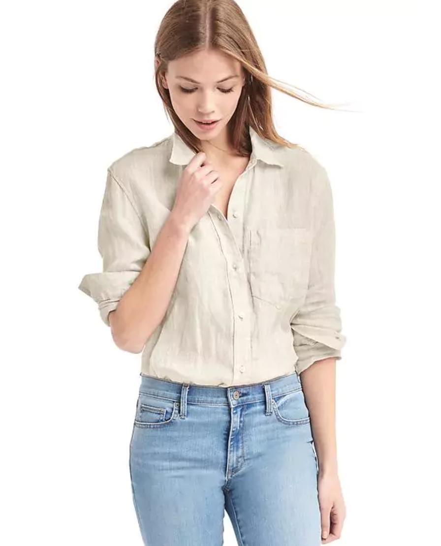 Linen oversized boyfriend shirt by GAP