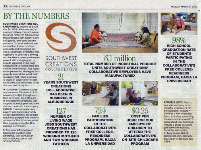 By the Numbers: Southwest Creations in the Albuquerque Journal
