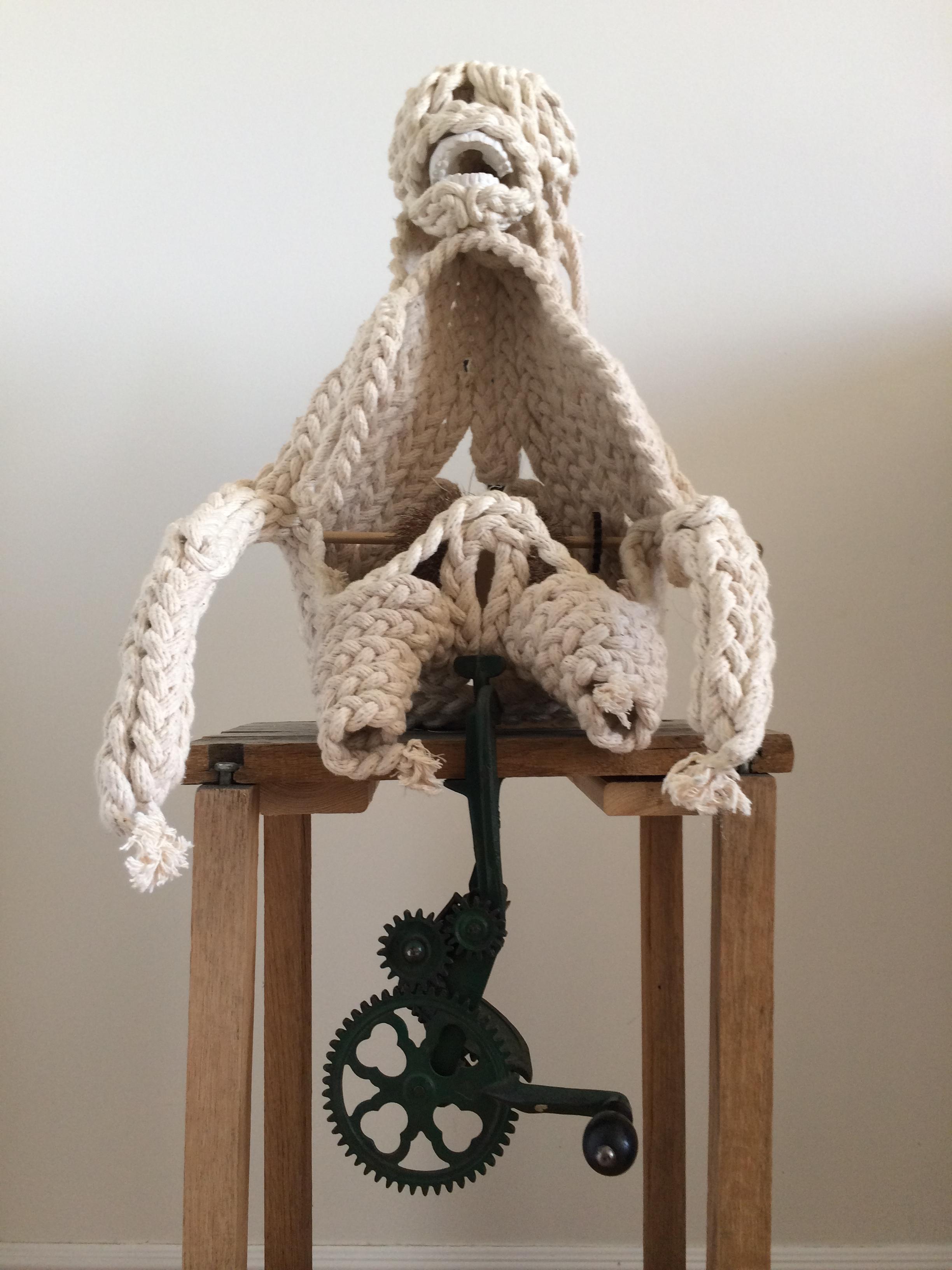 ROPE PORTRAIT Cotton rope, steel wire, ceramic, hair