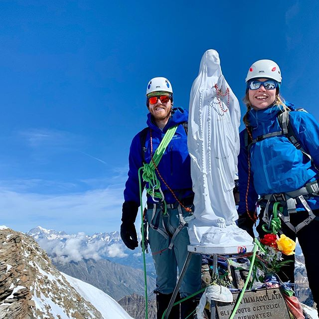 Out and about with Peter & Liz again this summer. After a successful ascent of Mt Vinson, Antarctica last season, they are enjoying some warm Alpine mountaineering on the summit of Gran Paradiso 4061m. Such a good preparation for a Mt Blanc attempt but also a beautiful summit in its own right... . . . #antarcticlogistics  #brit_mt_guides