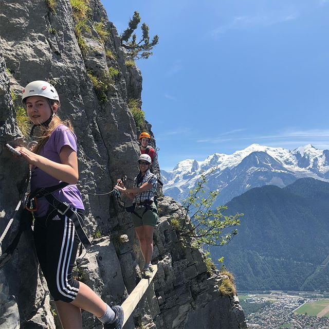 Family via ferrata fun with the @moreartisan team. High above the valley floor with stunning views of the Mt Blanc massif...