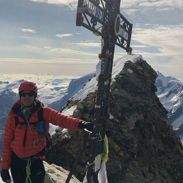 You realise that you are only halfway when you are standing on a summit like the Matterhorn (4478m) having climbed the Hörnligrat-one of the great ridge climbs of the Alps. Congratulations to @juliancarnell for a guidebook time ascent. We traversed over to the Italian summit to make the most of the photo opportunities before the descent back to Zermatt... . . #brit_mtn_guides  #arcteryx
