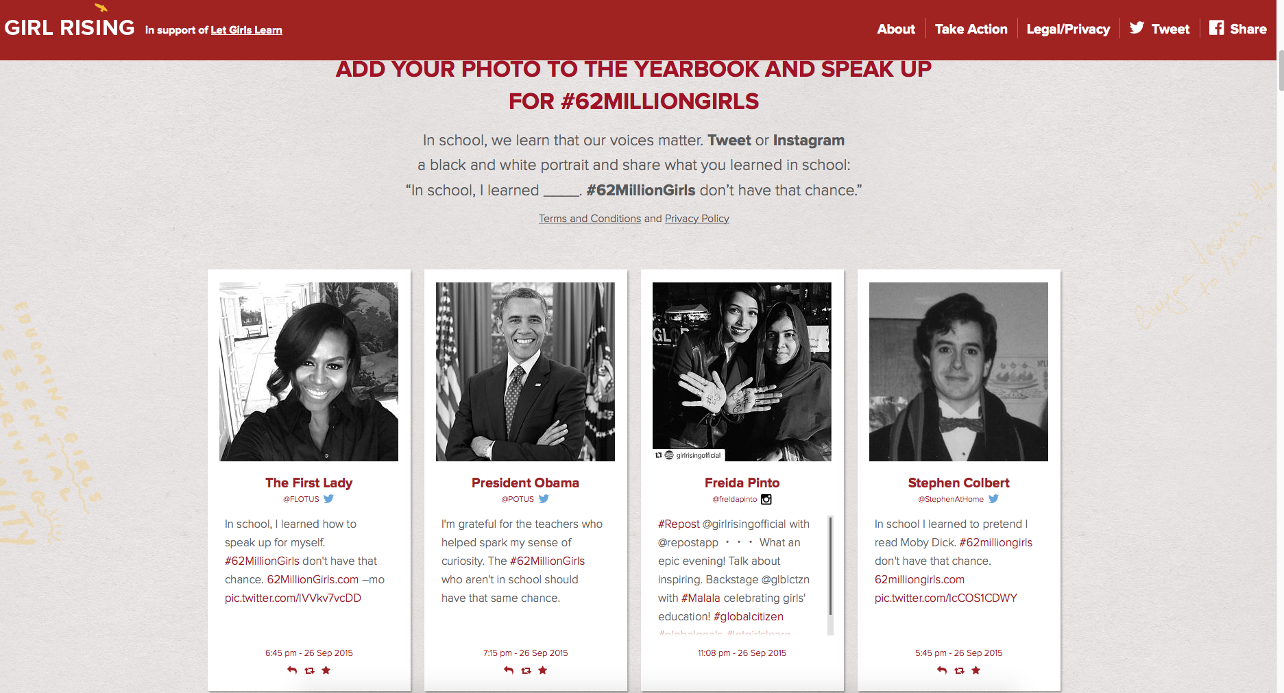 The homepage of 62milliongirls.com, showcasing an extensive 'yearbook' of supporters.