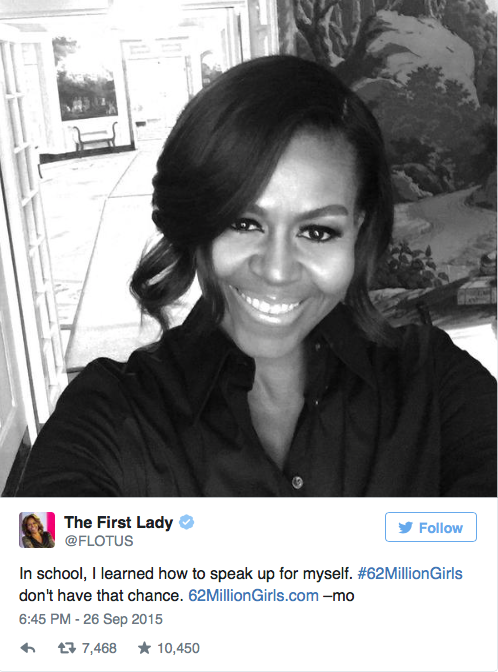 FLOTUS Michelle Obama paving the way on her Instagram for #62MillionGirls!