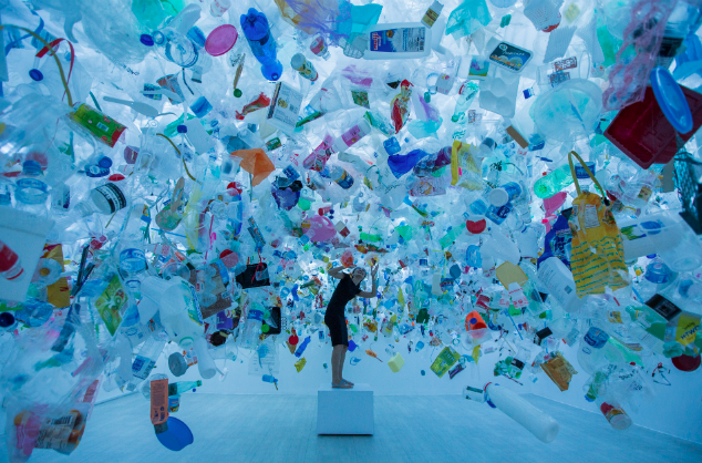 "We Are Drowning In Plastic Artist @messymsi collected over 20,000 pieces of plastic for this Art installation called ""Plastic Ocean"" in the Singapore Art Museum."