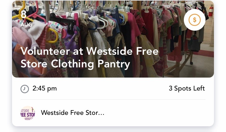 - Sort Clothes at Westside Free Store Clothing PantryThursday, August 8 (15, 24, & 29)