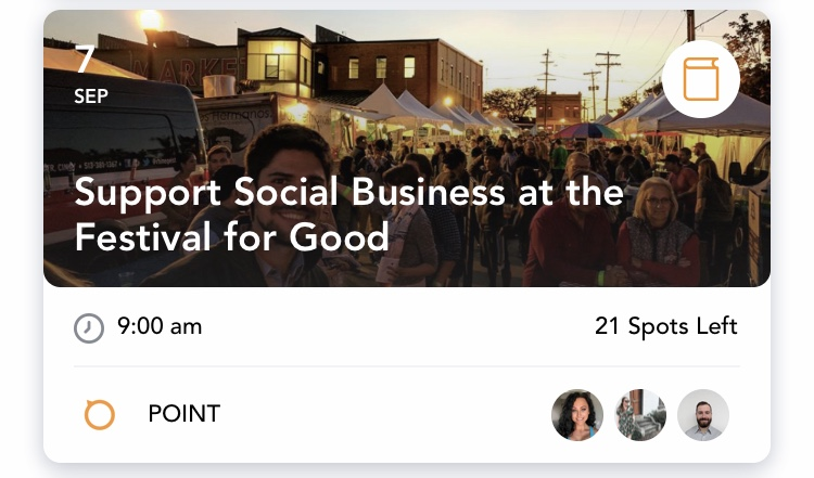 Support Social Business at the Festival for Good - Saturday, Sept. 7