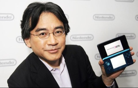 Iwata showing off the original 3DS
