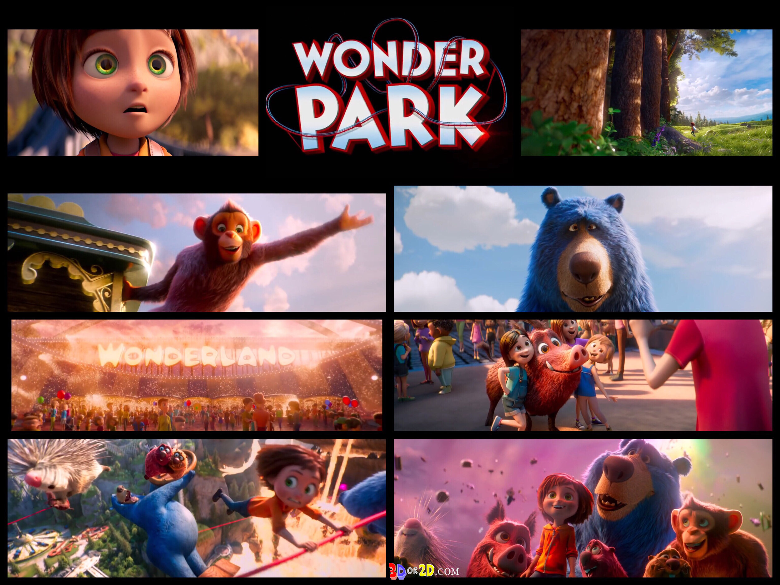 photo collage of scenes from Wonder Park trailer