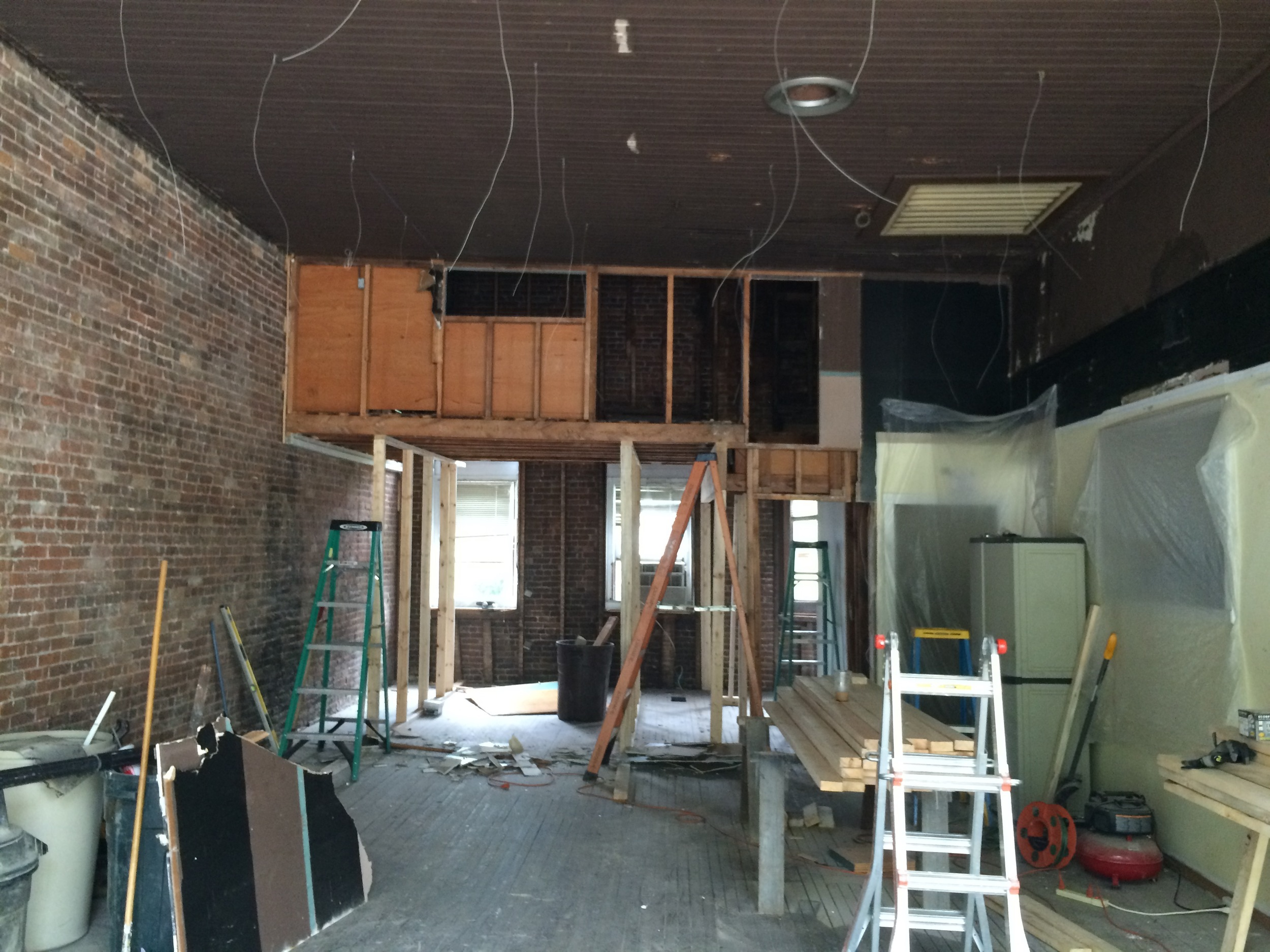 The former DJ booth becoming a loft office