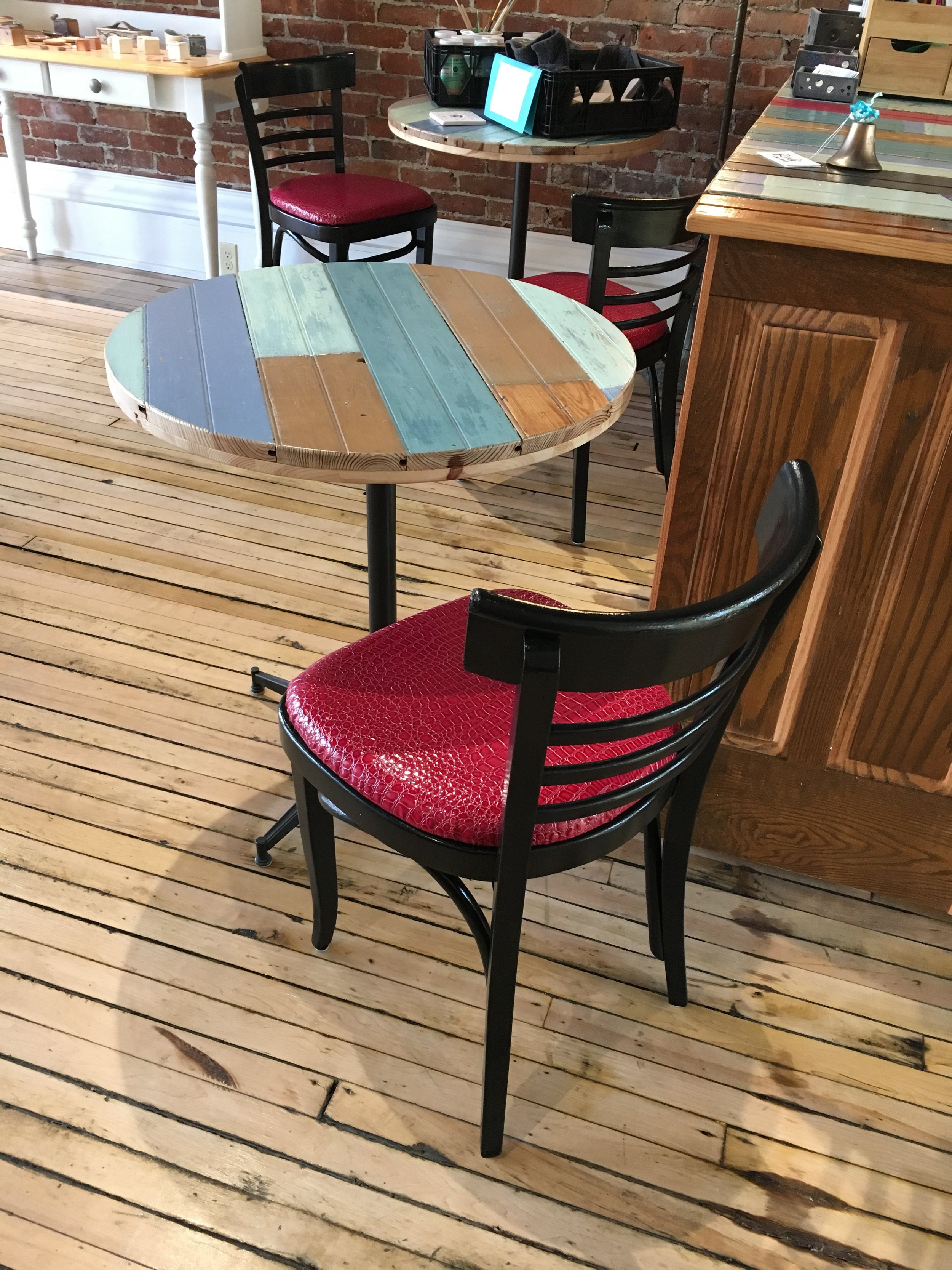 Re-painted, re-upholstered road chairs