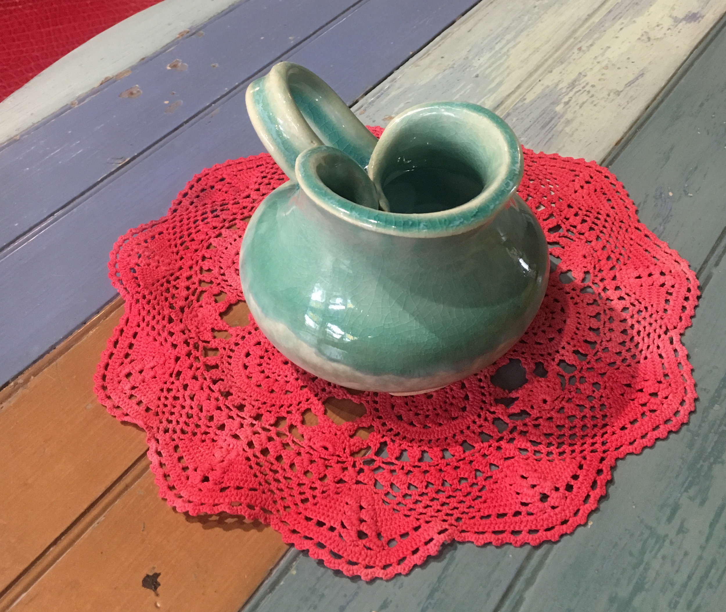 A limp wheel pot becomes an awesome centerpiece! (It's a permanent part of our pottery party serving set).