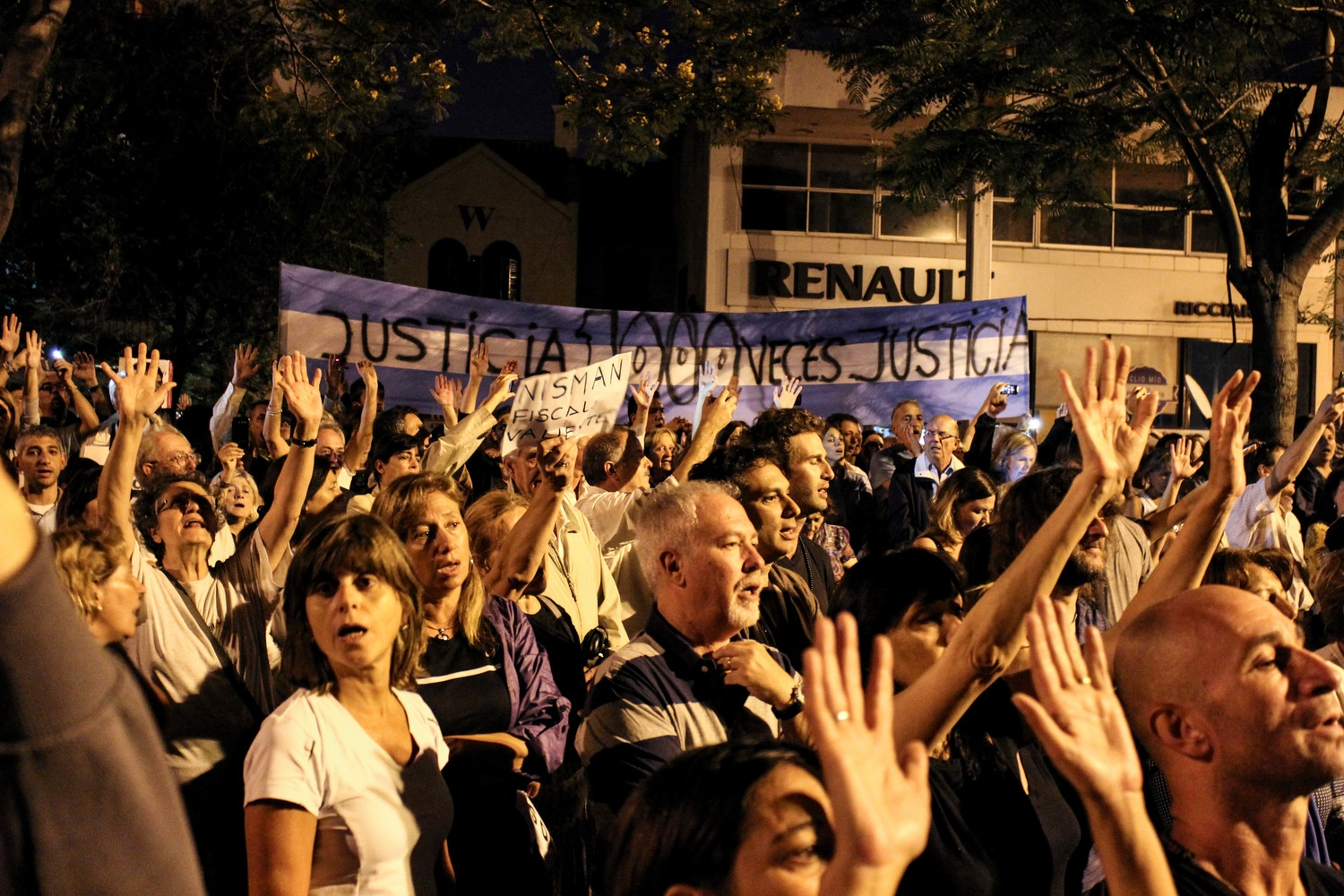 A protest being held after the suspicious death of Albert Nisman. Source: Flickr/jmalievi