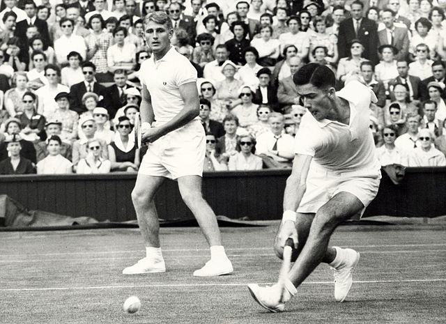 Lew Hoad (left) and Ken Rosewall (right) playing a doubles match. Image Source: Wikimedia Commons/State Library of Victoria