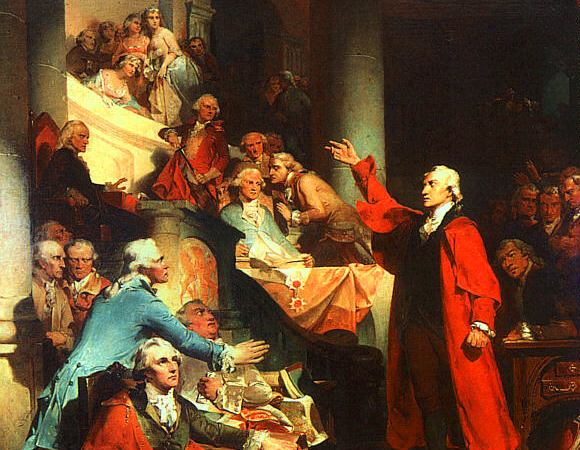 Patrick Henry Before the Virginia House of Burgesses in 1765 (Wikimedia Commons/Peter F. Rothermel)