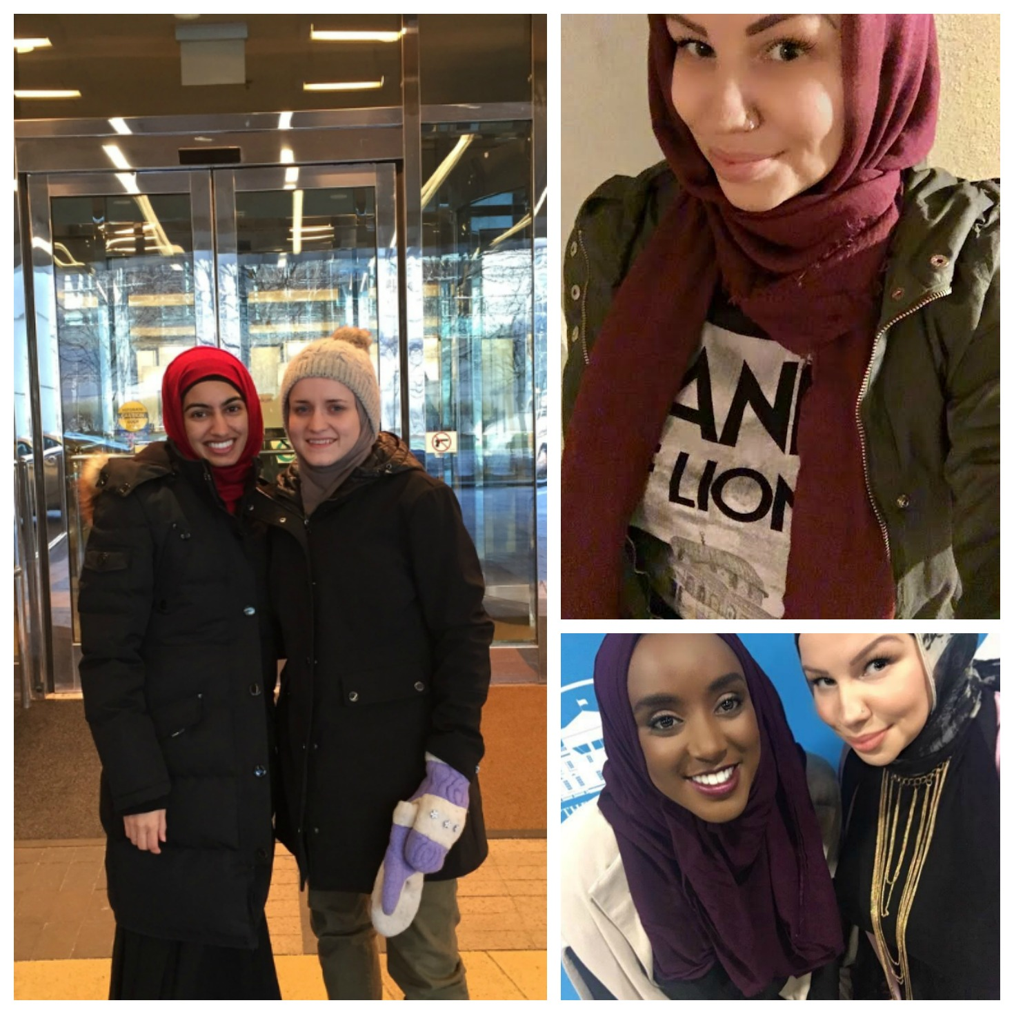 Clockwise: Bessma Khan Haider and Kaya Gravitter at MASICNA in Chicago, December 2016; Azmia Magane; Eman Bare and Azmia Magane at the White House Summit on Women, June 2016, Washington D.C.