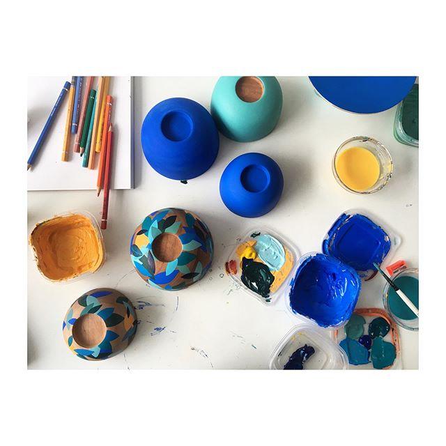 Blue hues today. #woodturning #womenwhomake #painting #bowls #blue #cobaltblue #blueandorange #leafy #handpainted