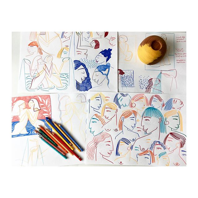 Sketches in the studio. #drawing #ladylove #sketches #colour #pencils #womenwhodraw #studio #wip