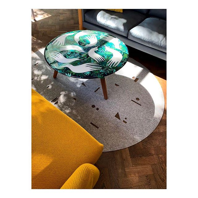 Beautiful shot of my bird table, a collaboration with @mark_product, featuring a new rug by @selinarose_studio. Can't get enough of mustard, handsome with the deep greens of my painted leaves. #paintedfurniture #markproduct #handpainted #londondesignweek #birds #colour #pattern #LDF2019