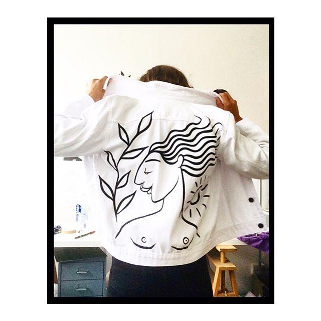 Pre-loved revamped denim jackets. #painteddenim #ladylove #AIF #preloved #sustainablefashion #whitedenim #ethicallyproduced #revamped