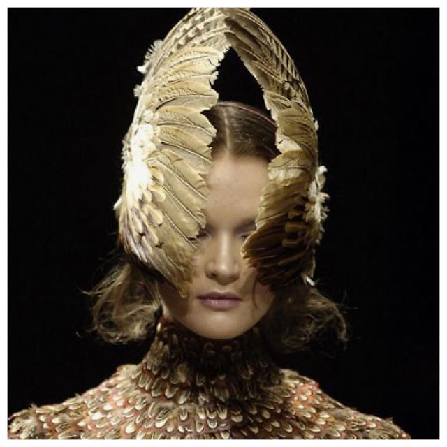 """If I were a bird"". Inspiration images, current mood. #feather #feathers #gold #braid #golden #bird  #flight #fashion #headpiece #crown"