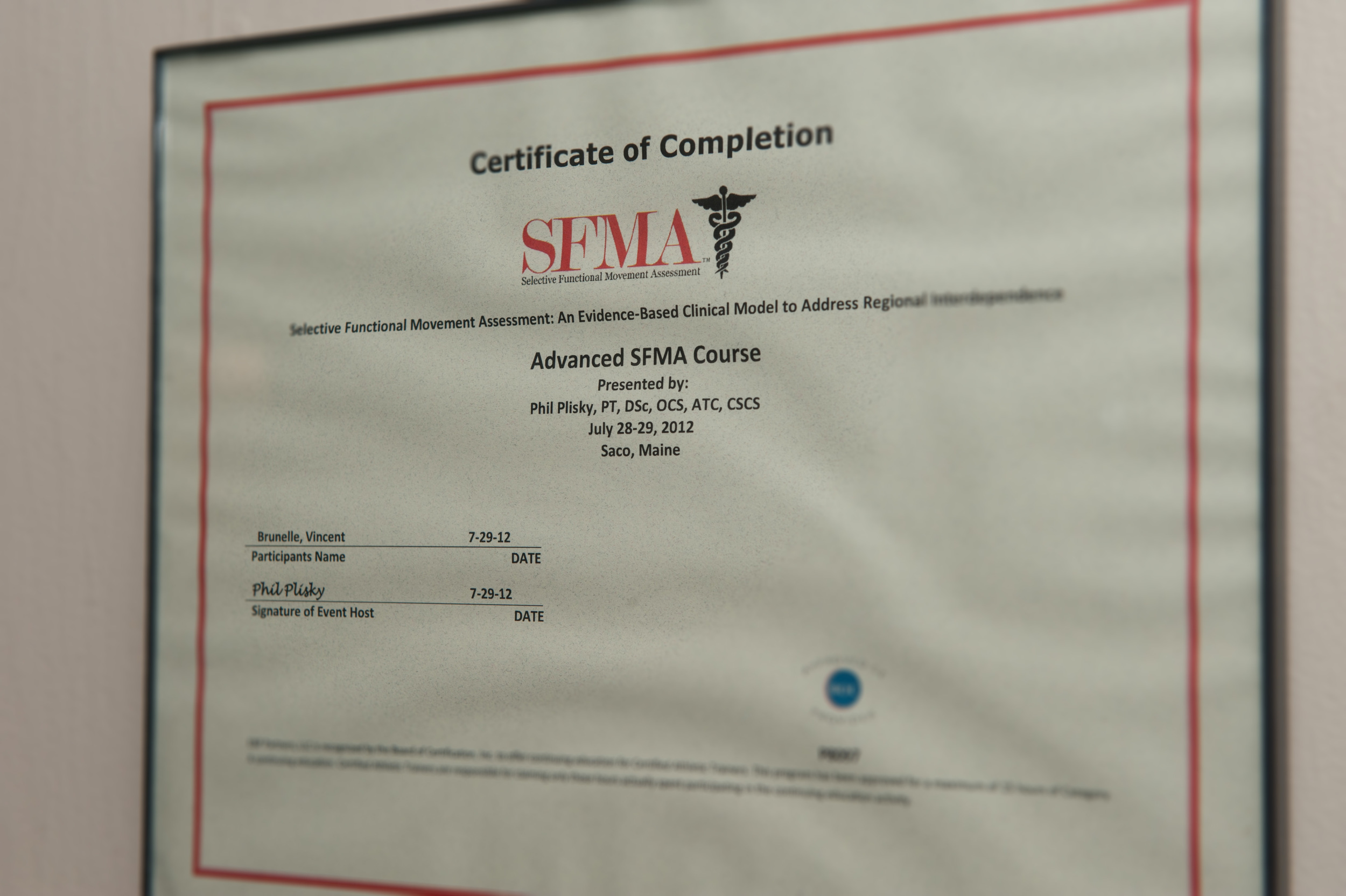 Dr. Brunelle has completed the SFMA training.