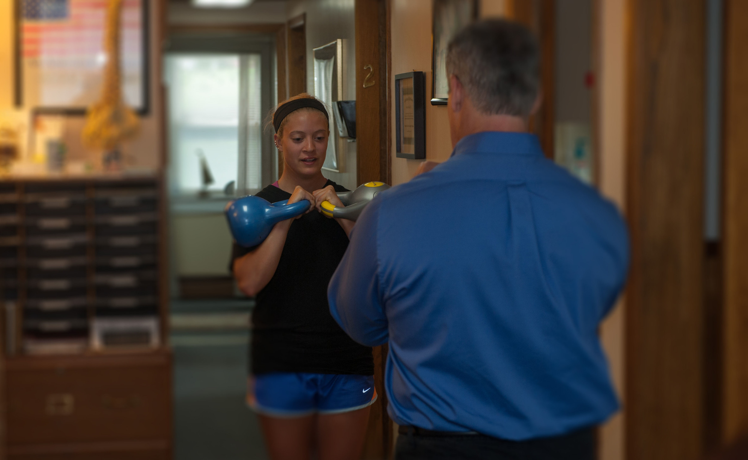 Dr. Brunelle works with athletes to help prevent injuries and strain.