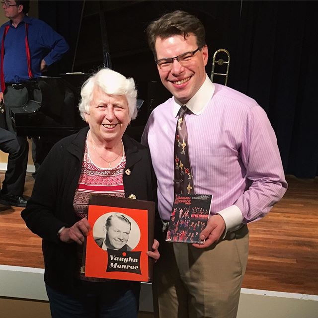 Bandleader Dan Gabel was giving a lecture/performance in Needham, and former Vaughn Monroe Fanclub President and life-long fan Polly Attridge was in the audience! It was a happy reunion and we shared many stories about our favorite Maestro. Polly has her new DVD of our show - do you?  Thanks for the memories, stories, and support, Polly!!! #vaughnmonroe @dangabelmusic #lecture #vintagemusic #swingmusic #bigband #1930s #1940s #connections #stories #ontheroad #history #musichistory #livemusicmatters