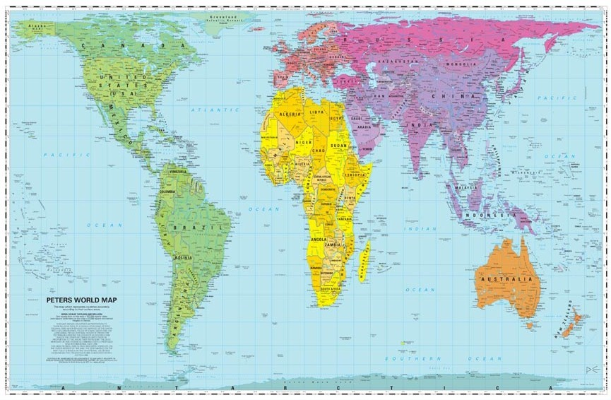 In contrast to maps that distort size, position, importance, an image like this serves the goal of fairness to all nations, all peoples.