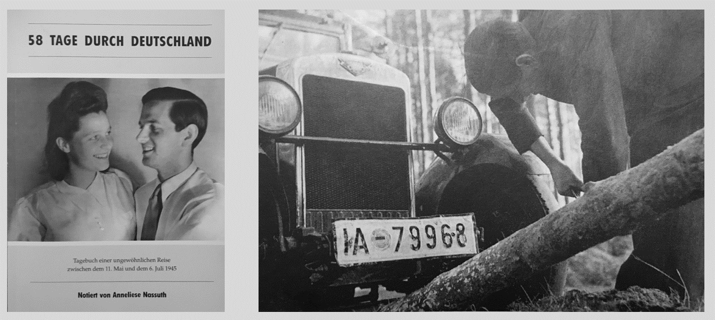 This diary, now published, shines a spotlight on the dark days in Germany in 1945. How to travel? Without much choice, this car started the trip but soon broke down.