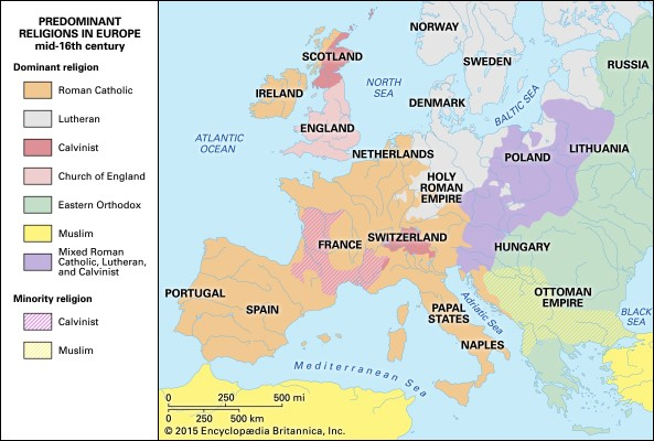 Within a few decades the Reformation had swept through much of Europe, changing how people exercised faith and understood life. In Germany and Scandinavia followers of the new approach were known as Lutherans, in Switzerland, Reformed, in Holland, Mennonites, in France, Huguenots, in England, Anglicans, in Italy, Waldensians. This map shows dominant affiliations in the mid-16th century.