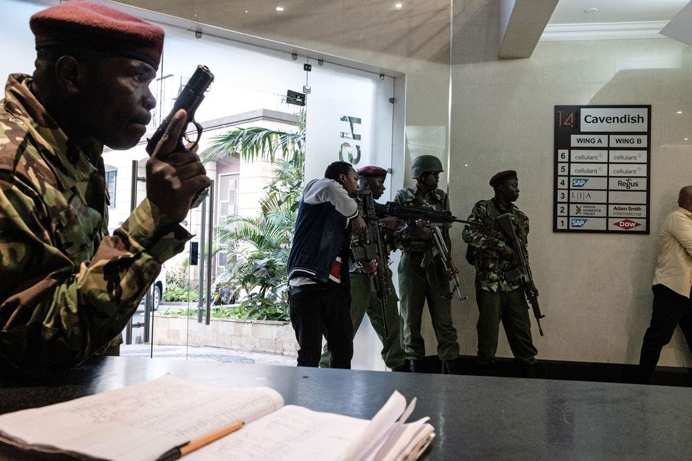 Kenya in turmoil - Extremists equipped with guns and explosives stormed a hotel; police were dispatched to the scene. The result: rising fear of terrorism piled on to widespread social anxiety, and – at latest count – five attackers and 21 civilians, including one American, one Briton and three from other African countries killed. (Photo provided by Bloomberg News.)