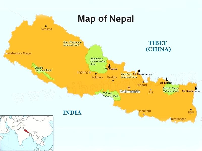 Even bragging about Mt. Everest, the world's tallest peak, which Nepal shares with Tibet, is not nearly enough to overcome feelings of isolation and inferiority.  Map courtesy tibetravel.org