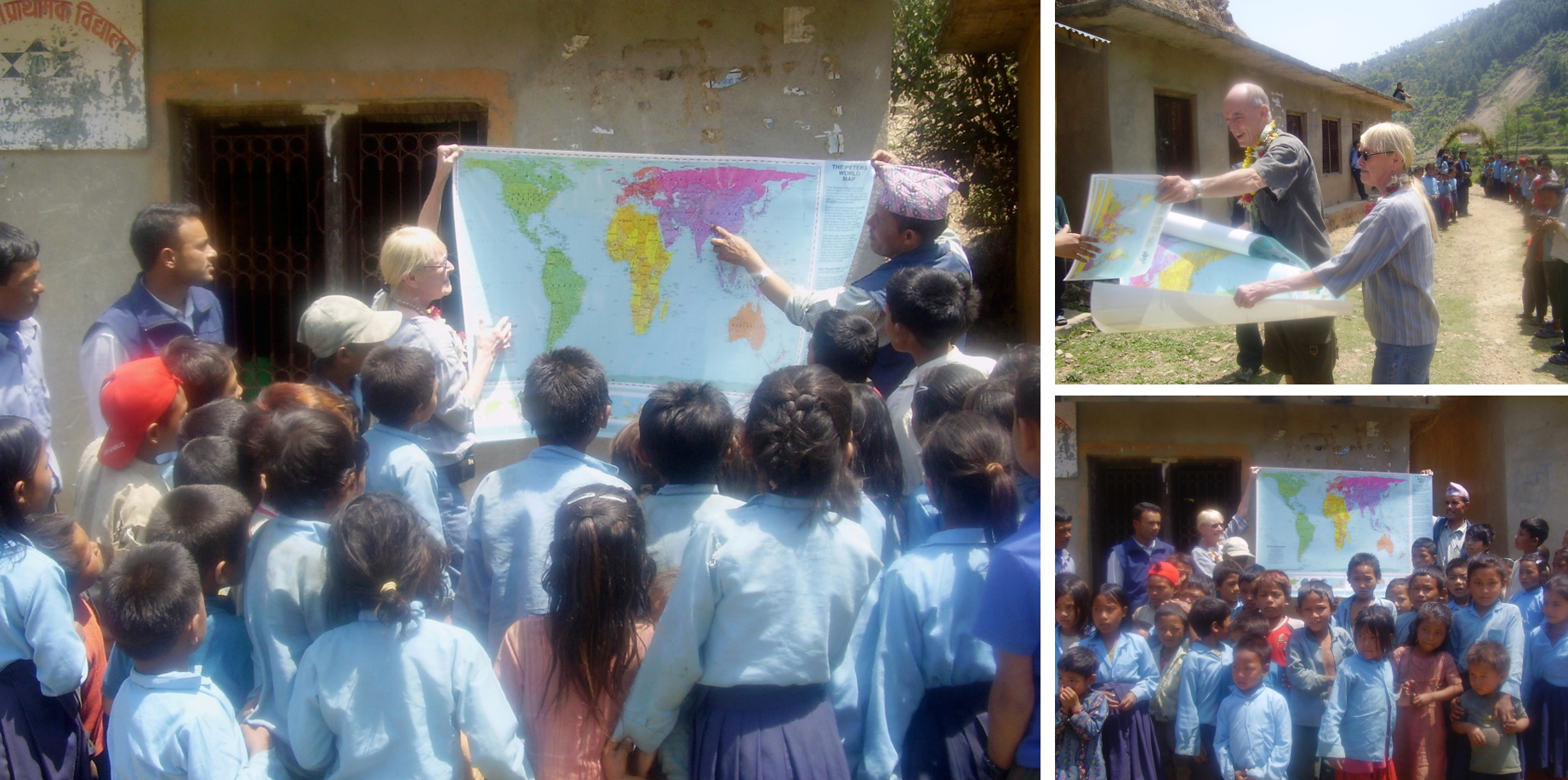 Clockwise from top right:    B I G day!    Kirk Nepal (Kirk Richmond) and Barbara Novak unpack the first shipment of Peters world maps to reach Nepal, for regular use in schools. A teacher and a volunteer offer a new view of Nepal and the world to students at a Shree Manhankal school. The Nepali teacher points to their country as he encourages new thinking about its place in world affairs.