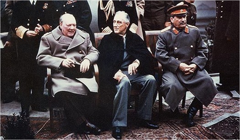 Churchill, Roosevelt and Stalin meeting at Yalta, 1945, months before the end of the war in Europe.