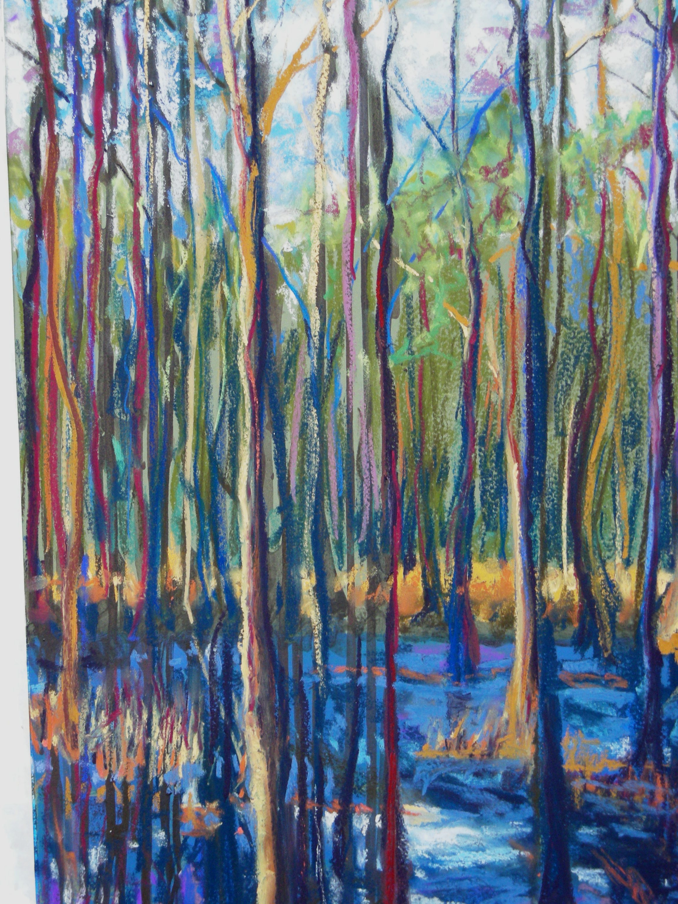 Wetlands- pastel framed under glass 16X28