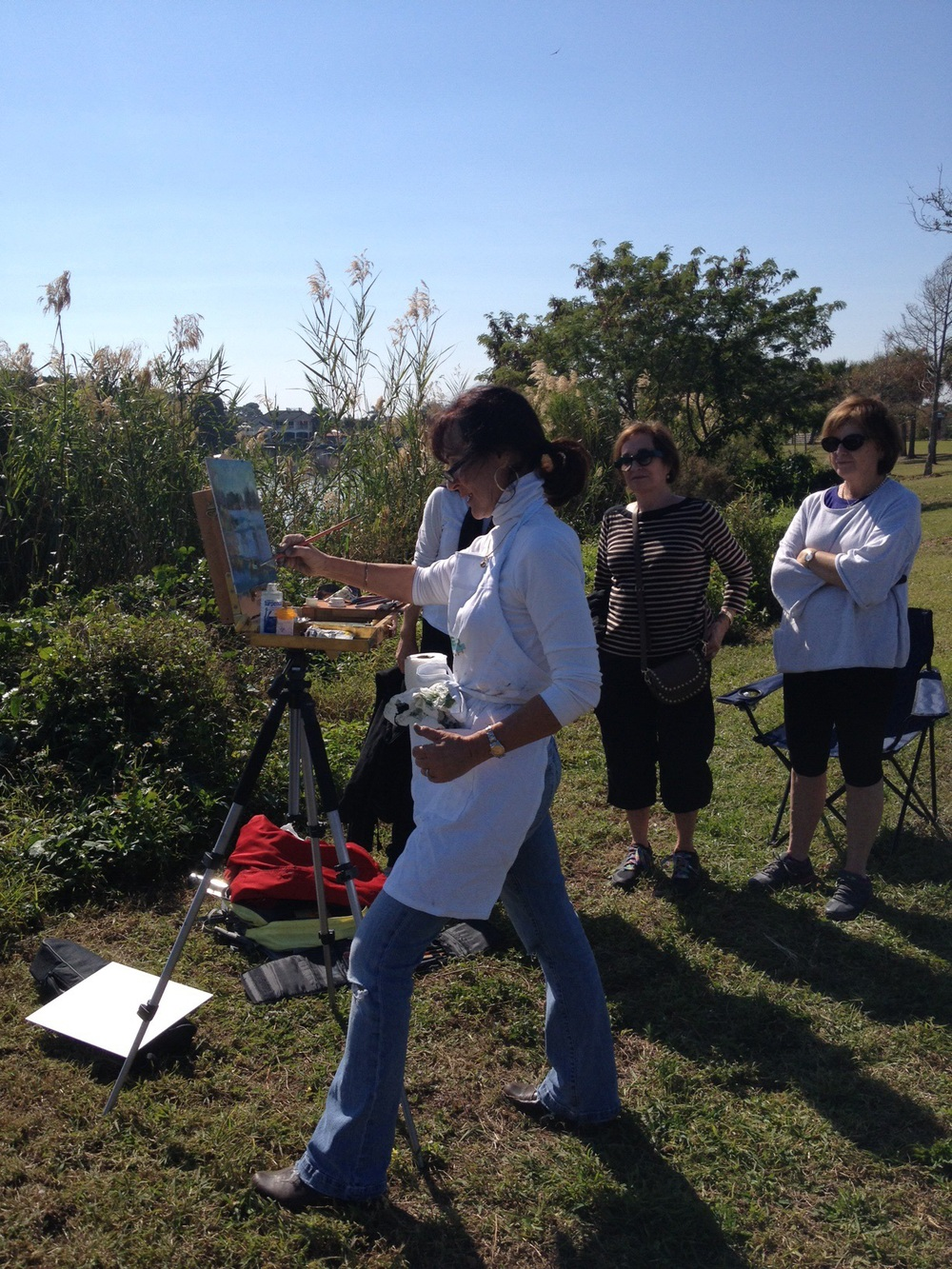 Giving a demo at Lake Ida. Students with comfortable clothes!